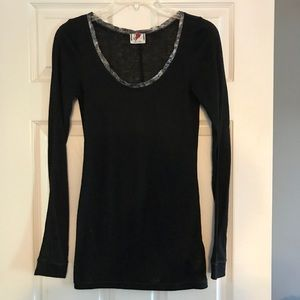 Free People Black Long sleeve w/silver scoop